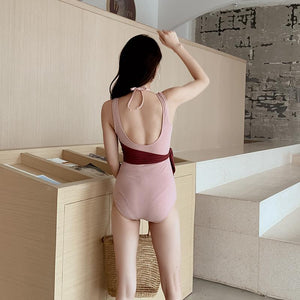 Stitching Contrast Color Beach Swimsuit