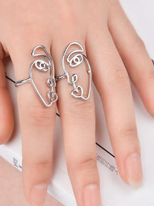 2PCS/Set Hip Hop Unique Abstract Face Ring Set Hollow Minimalist Matching Half Face Rings for Women Anillos Mujer Couple Ring
