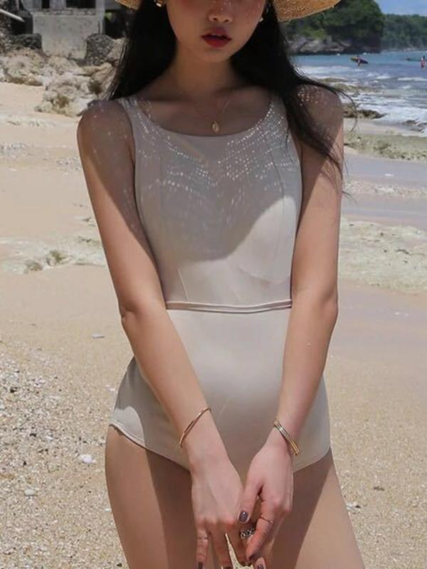 Sexy Solid Color Halter Beach One-piece Swimsuit