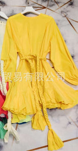 Color Stitching Ethnic Mini Dress