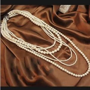 Pearl Necklace Vintage Multi-layer Long Jewelry