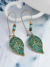 Load image into Gallery viewer, Retro Openwork Leaves Beads Pendant Stud Earrings