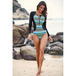 Siamese Surf Clothing Swimwear Long-sleeved Zipper Jellyfish Printed Slim Diving Suit Bikini