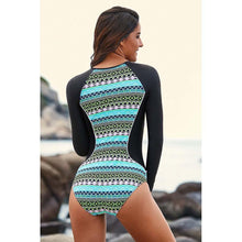 Load image into Gallery viewer, Siamese Surf Clothing Swimwear Long-sleeved Zipper Jellyfish Printed Slim Diving Suit Bikini