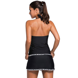 Sexy Backless Solid Two-piece Skirt Swimsuit