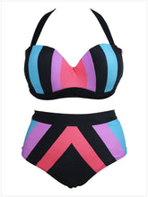 Load image into Gallery viewer, Sexy Bikini Print High Waist Sling Large Size Split Swimsuit