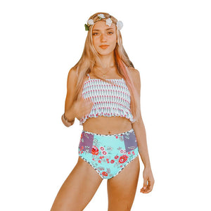 High Waist Covered Belly Slim Printed Bikini