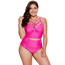 Load image into Gallery viewer, Bikini Triangle Split High Waist Large Size Swimsuit