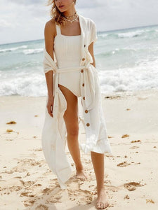Button Cardigan Sunscreen White Beach Dress