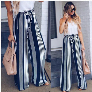Retro Printed Lace-up Skirt Pant