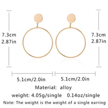 Load image into Gallery viewer, Retro Geometric Element Circle Metal Earrings Female