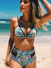 Load image into Gallery viewer, Printed High Waist Bikini Sexy Split Swimsuit