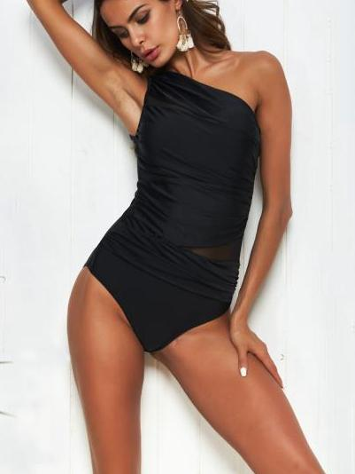 Sexy Black One-shoulder One-piece Swimsuit
