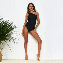 Load image into Gallery viewer, Sexy Black One-shoulder One-piece Swimsuit