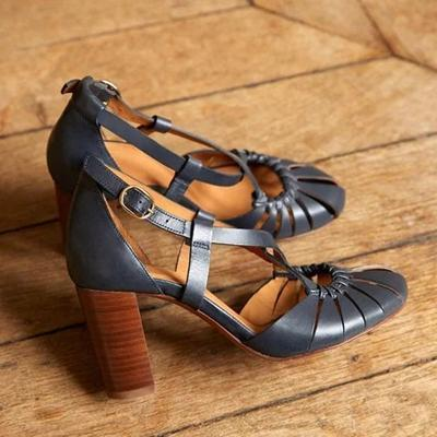 Fashion Thick Buckle with Solid Color High Heel Sandals