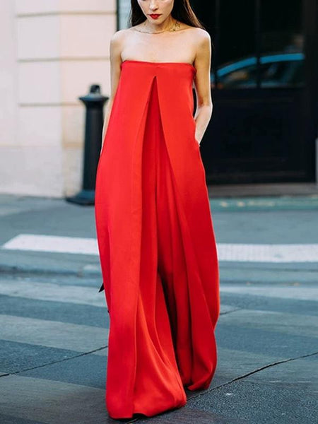 One-word Flat Shoulder Red Big Loose Jumpsuit
