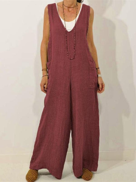 V-neck Solid Color Cotton Strap Jumpsuit Trousers