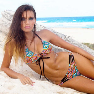 Printed Vintage Low Waist Tether Strap Bikini