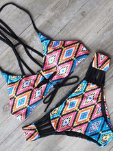 Load image into Gallery viewer, Printed Vintage Low Waist Tether Strap Bikini
