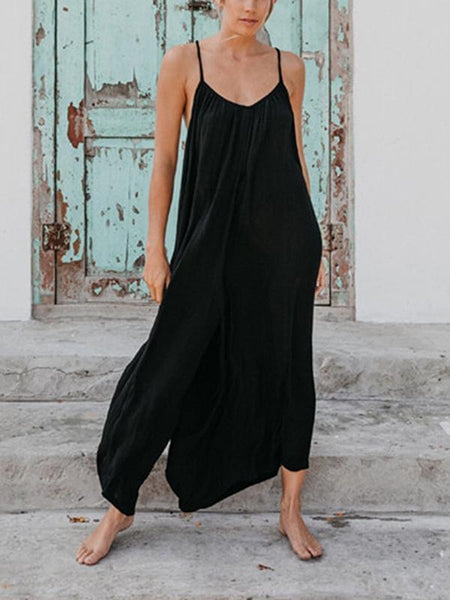Sleeveless Halter Strap With Solid Color Loose Jumpsuit