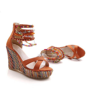 Bohemian Wedge Beaded Large Sandals
