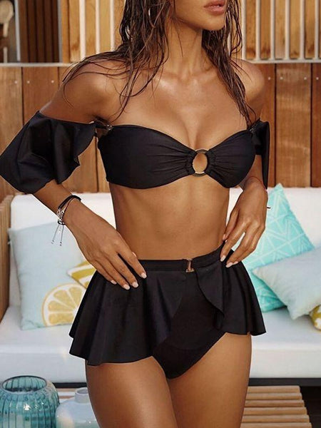 Detachable ruffle bikini solid color high waist split swimsuit