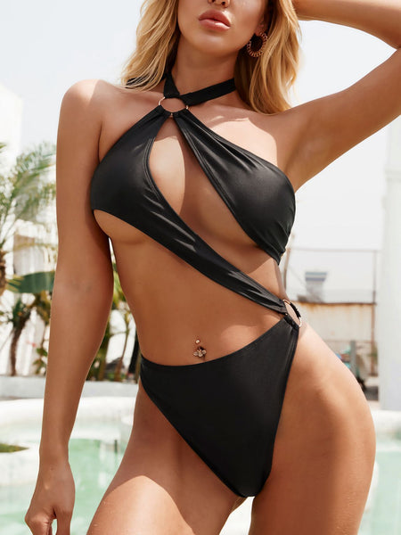 Hollow Halter Collar Bikini Swimsuit