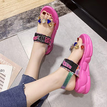 Load image into Gallery viewer, Round Toe Open Heel Platform Heel Rhinestone Buckle Beach Shoes