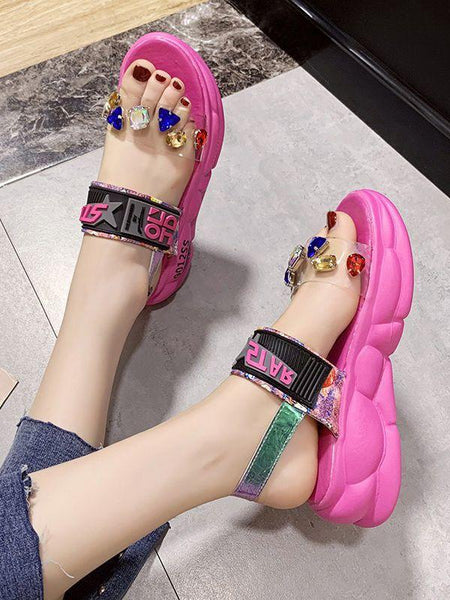 Round Toe Open Heel Platform Heel Rhinestone Buckle Beach Shoes