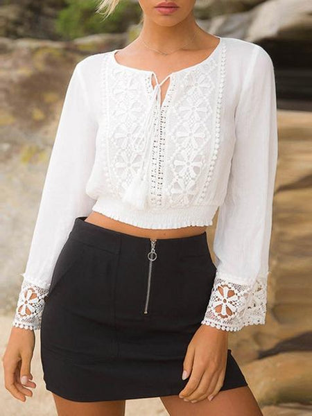 Beach Sexy Long Sleeve Lace Shirt