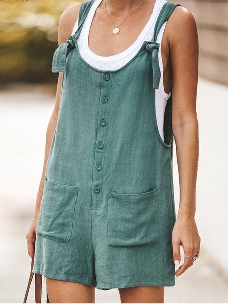 Multicolor U-Neck Shorts Overalls