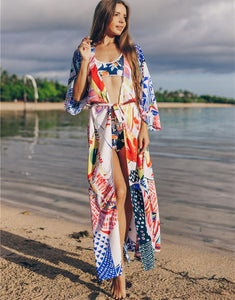Printed loose beach skirt sunscreen holiday dress