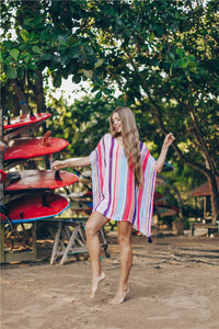 Chiffon Multicolor Striped Beach Sun Shirt