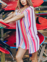 Load image into Gallery viewer, Chiffon Multicolor Striped Beach Sun Shirt