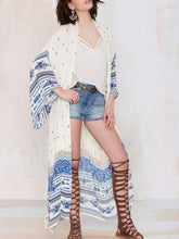 Load image into Gallery viewer, Chiffon White Sapphire Blue Printed Beach Skirt Loose Plus Size Holiday Cardigan