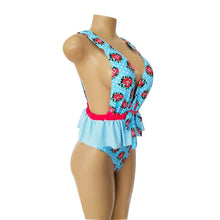Load image into Gallery viewer, Ruffled Waist Print V-neck Bow Ins Style One Piece Swimsuit