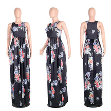 Load image into Gallery viewer, Floral Print Sleeveless Boho Beach Maxi Dress