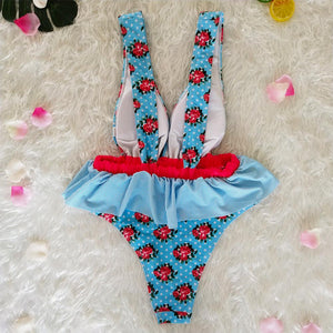 Ruffled Waist Print V-neck Bow Ins Style One Piece Swimsuit