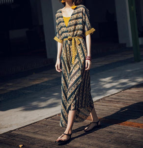 CONTRAST COLOR IRREGULAR SHAPE STRIPE BOHO TWO-PIECE LONG DRESS