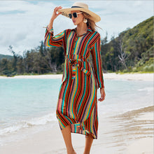 Load image into Gallery viewer, New Shirt Collar Color Strip Button Belt Beach Cover up