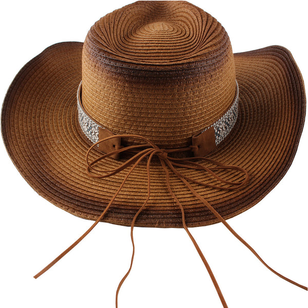 Fashion New Belt Buckle Sun-proof Sunshade Curled Big Brim Straw Hat