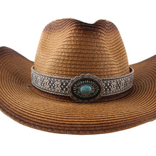 Load image into Gallery viewer, Fashion New Belt Buckle Sun-proof Sunshade Curled Big Brim Straw Hat