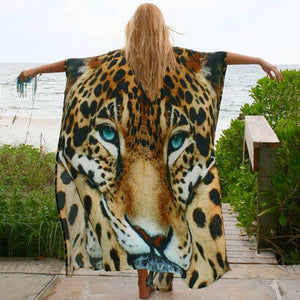 New Tiger Print Beach Sunscreen Shirt Loose Sexy Cover up