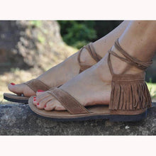 Load image into Gallery viewer, Flat Heel Tassel Beach Summer Sandals