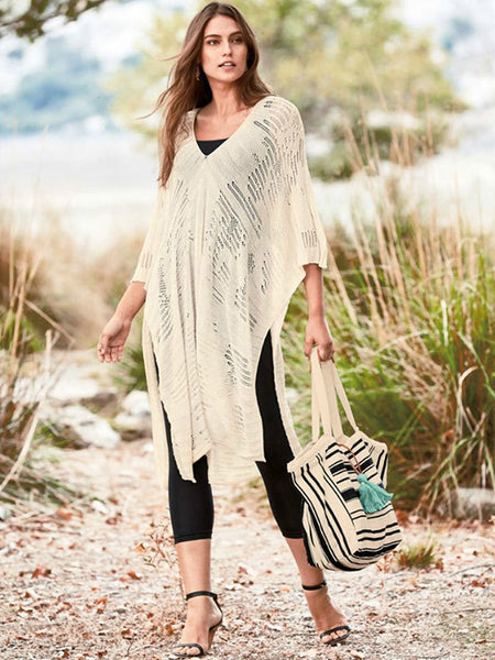Knitted hollow loose beach skirt sunscreen sexy swimsuit hoodie shawl beach skirt.