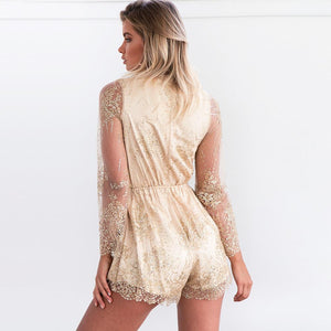Sexy Sequin Deep V Neck Long Sleeve Jumpsuit Rompers