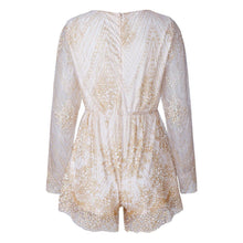 Load image into Gallery viewer, Sexy Sequin Deep V Neck Long Sleeve Jumpsuit Rompers