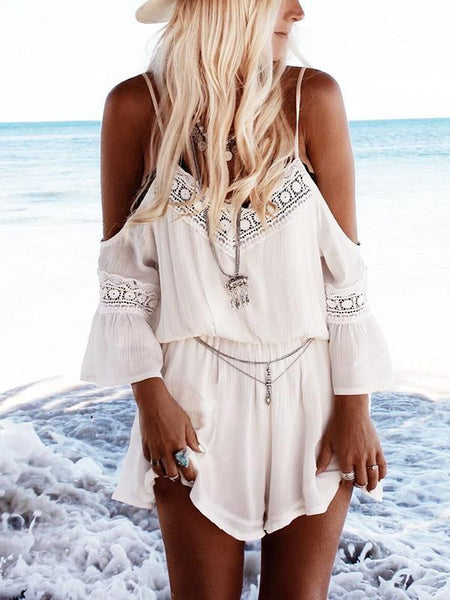 Spaghetti Strap Chiffon Backless Rompers
