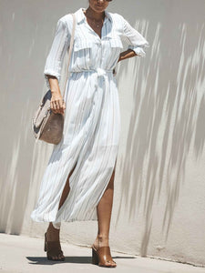 2018 Stripe Long Sleeve Split Maxi Dress