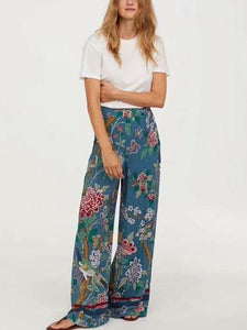 Autumn Bird Flower Print High Waist Side Zipper Loose Wide Leg Pants